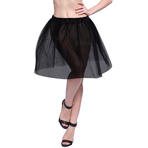 5 Layers Damen Tutu Petticoat Unterrock Tutü Tüllrock Knielang elegant Kleid Tanz (Halloween Und Zusammen Kostüme Einfach Schnell)
