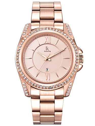 Alienwork Montre Femme Fille Bracelet métal Acier Inoxydable Or Rose Analogique Quartz Calendrier Date Imperméable Strass élégant