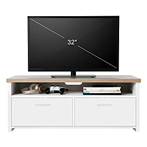 mueble televisor: VASAGLE Mueble para TV con Compartimentos y Puertas, Mesa Baja para Televisor, R...