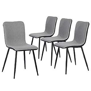 Coavas Esszimmerstühle Set von 4 Küchenstühle Besucherstühle Konferenzstühle alle 4 in 5 Minuten Zusammenbauen, Grau Stoffkissen Schwarze Waschbar PU-Rückenlehne Gut Gasdurchlässigkeit Metallbeine