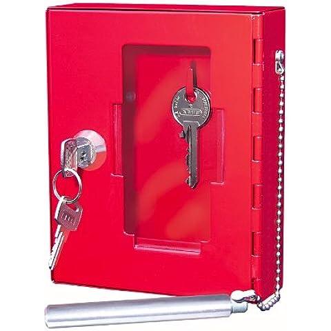 Wedo - Caja de pared para llaves de emergencia (puerta con cristal, varilla de acero, cristal de repuesto), color
