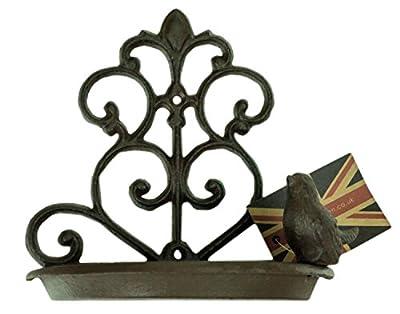 east2eden Retro Vintage Fleur De Lis Cast Iron Wall Mounted Garden Bird Bath Wild Birds Feeder