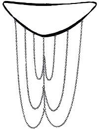 Lureme De las mujeres Sencillo cuerpo de la joyería de metal de plata de tono cadena borla pierna pierna cadena (bl003073)