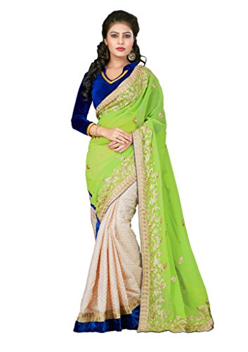 Designer Georgette + Jekard Butti Sarees With Velvet Blouse Material