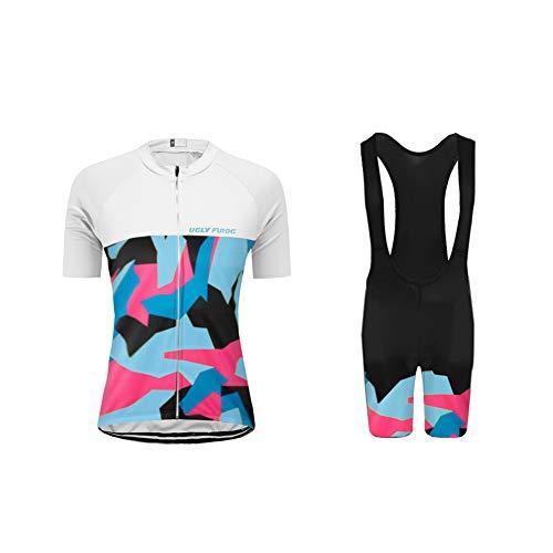 Uglyfrog Moda Donna Maglia Ciclismo Set Pantalone a Manica Corta Camicia di Bicicletta Abbigliamento Triathlon Confortevole DXWX02