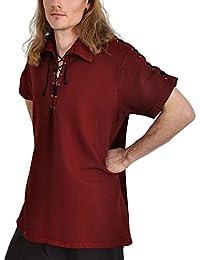 Chemise médiévale pour homme manches courtes cordelette sur les manches coton rouge
