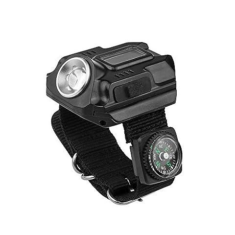 Montre LED Lumière lampe de poche rechargeable étanche montre poignet lampe 4Mode SOS Affichage de l'heure avec boussole pour course à pied escalade de survie Camping Randonnée Chasse Patrol