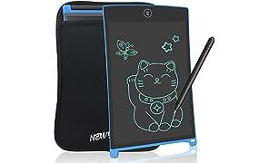 LCD Tablette d'écriture graphique Tablette - NEWYES NYWT085A - 8,5 pouces magnétiques Planche Tableau Frigo bureau mémo bloc-notes LCD Notepad(Bleu+ housse)