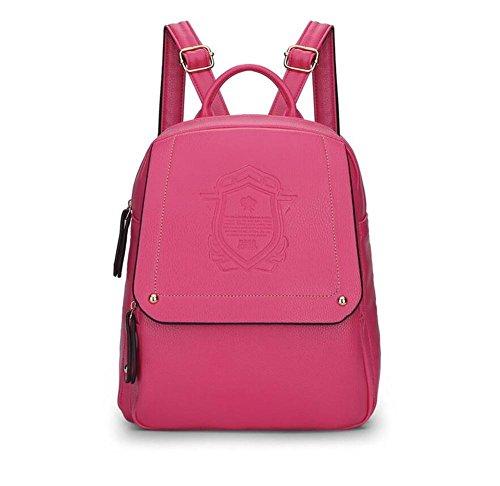 LDMB Damen-handtaschen Frauen PU-lederne leichte einfache wilde beiläufige Rucksack-Handtaschen-feste Farben-justierbare prägeartige Buchbags-große KapazitätsTaschen-Beutel-Schulter-Beutel rose red