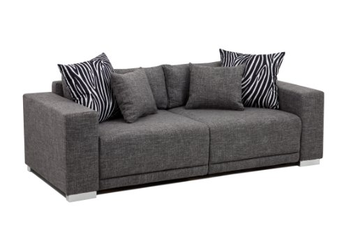 B-famous Big Sofa London-L Struktur grau, 217x103 cm,