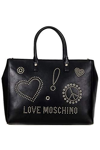 Love Moschino Sign & Studs shopping bag black