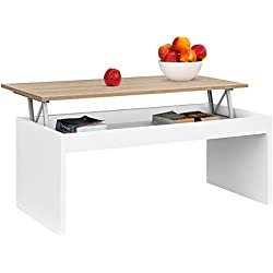 Mesa de Centro Elevable, 100 X 50 X 43/52 (Blanco/Roble)