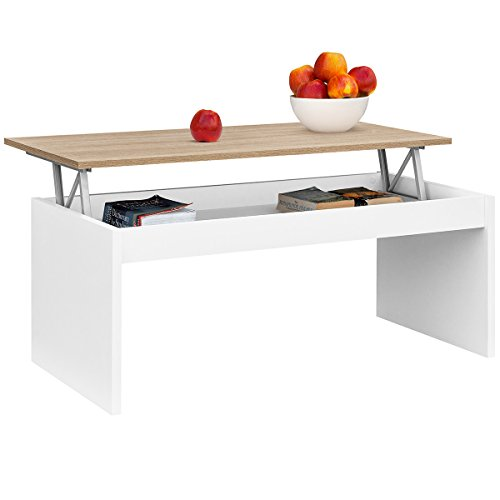 COMIFORT Lift-Up Table Basse Moderne Table Basse Salle à Manger ou Salon, 1,02 X 50,2 X 43/52