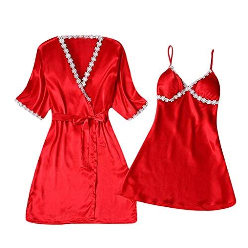 zarupeng Mujer Nuevo Pijama Halter camisón de Encaje de ♥♥♥♥♥ satén de Dos Piezas sin Pecho pa Conjunto camisón