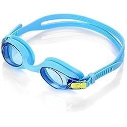 HiCool gafas de natación para los niños,gafas de 100% protección ultravioleta,visión de 180 grados,anti-niebla,hermética, gafas de agua para una natación más divertida. (Azul)