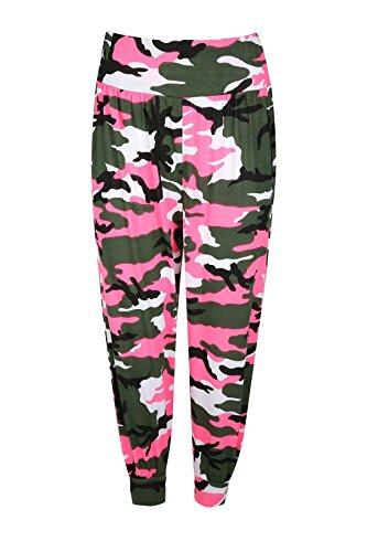 Be jealous geblümte femme leggings 3/4 pantalon harem loisirs ali baba legging court néon rose armée