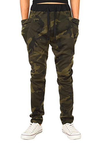 HEMOON Herren Traininghose Haremshose Sporthose Fitness Jogginghose Loose Crotch Hose Camouflage