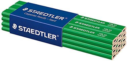 Staedtler 148 50 Zimmermann-Bleistift (oval-achtkant, Härtegrad hart, für Strichbreiten von 1 – 2 mm, ungespitzt, 175 mm lang, hohe Qualität, aus umweltfreundlichem FSC-Holz), 12 Stück