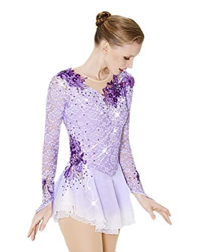 Heart&M Handgefertigt Eiskunstlauf Kleid für Mädchen und Frauen, Eislauf Wettbewerb Eistanz Performance Eislaufen Kostüm mit Spitzen applikations kristallen Tanzkleid Langärmelige Trikots, Lila,M - Langärmelige Trikot
