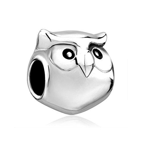Uniqueen - ciondolo a forma di gufo, simbolo di saggezza, adatto per bracciali per charm e placcato argento, cod. uq_dpc_eb176