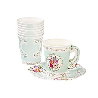 Talking Tables Truly Scrumptious Party Vintage Floral Tea Cups and Saucer Sets, Paper, Mint Green, Pack of 12, Height 8cm, 3