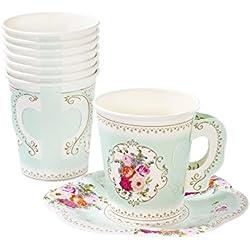 Talking Tables - Tazze da tè Stile Vintage con Motivo Floreale Truly Scrumptious, con Manici e piattini, di Carta, per Un Tea Party o Una Festa di Compleanno (Confezione da 12)