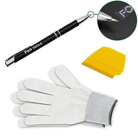 FOSHIO Kit d'outils de montage en vinyle automobile 3 en 1 Inclut un stylo à outil de rétractation d'air, une mini essuie-glace jaune et des gants pour un film de teinte de