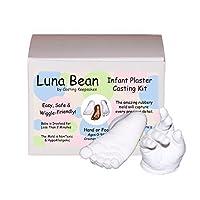 Luna Bean Infant Plaster Statue Casting Keepsake Kit - Cast Baby Hand & Foot (0-9M) (Clear Glaze)