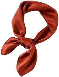 Xiang Ru Femme Couleur Uni Petit Foulard Carré Été en Soie Imité ... f328e46a273