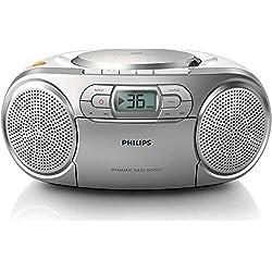 Philips AZ127 Lecteur CD/Cassette avec Tuner FM, entrée audio, amplification des basses, Argent