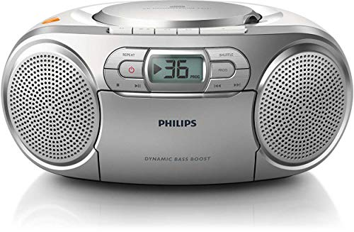 Philips AZ127 Soundmaschine (Dynamic Bass Boost, UKW-Tuner, 20 CD-Titel programmierbar, Kassetten-Deck) silber (Philips-cd-mp3-player)