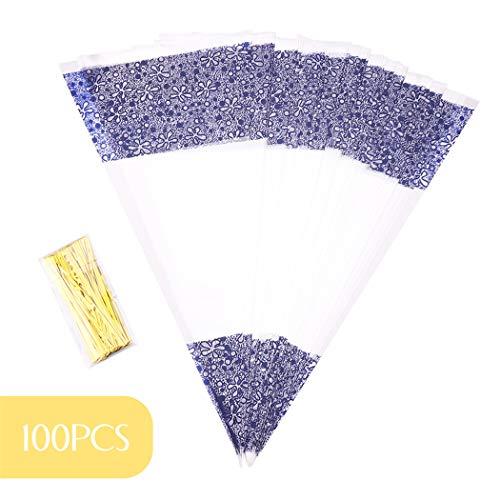 UKMASTER Süßigkeitentüten 100 Stück Cone Tüte 37 x 18 cm transparente Geschenk Verpackung mit Gold Bindestreifen