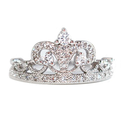 Gieschen Jewelers HAWAII- 14K White Gold-Plated CZ Crystal Dainty Tiara Crown Ring, Size M 1/2 (Touchstone Crystal Schmuck)