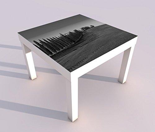 Design - Tisch mit UV Druck 55x55cm schwarz weiss Landschaft Baum Bäume Hügel Toskana Italien Vintage Spieltisch Lack Tische Bild Bilder Kinderzimmer Möbel 18A2864, Tisch 1:55x55cm