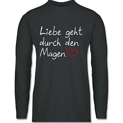Küche - Liebe geht durch den Magen - Longsleeve / langärmeliges T-Shirt für Herren Anthrazit
