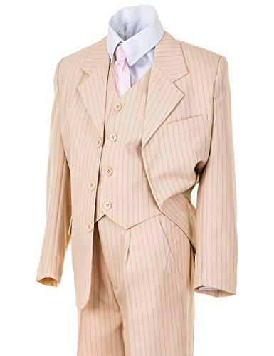Festlicher 5tlg. Jungen Anzug in vielen Farben mit Hose, Hemd, Weste, Krawatte und Jacke M313Ndbe Dunkel Beige Nadelstreifen Gr. 2 / 98 / 104