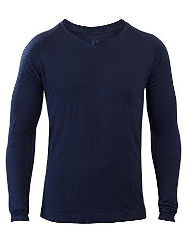Bequemes Herren Schlaf-Shirt LANGARM | SleepShirt Oberteil AVIOR | Seamless – ohne störende Nähte - dreimal weicher als Baumwolle | Thermoregulierende und atmungsaktive Funktions-Nachtwäsche (DUNKELBLAU, S)