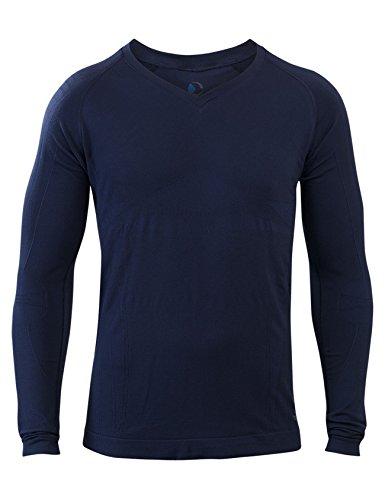 Bequemes Herren Schlaf-Shirt LANGARM   SleepShirt Oberteil   AVIOR   Seamless u2013 ohne störende Nähte - dreimal weicher als Baumwolle   Thermoregulierende und atmungsaktive Funktions-Nachtwäsche (DUNKELBLAU, M)