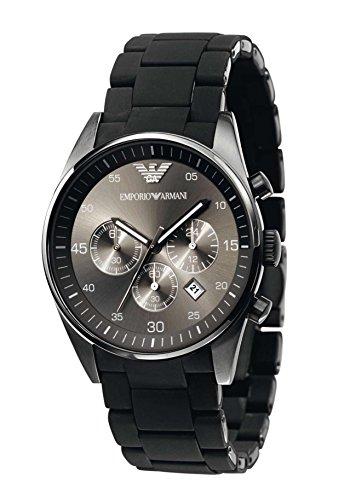 Emporio Armani AR5889Hombres del cuarzo negro deporte silicona reloj cronógrafo de acero inoxidable