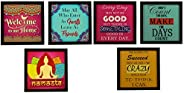 Indianara Square Synthetic Wood Art Painting (23 cm x 23 cm x 4 cm, Set of 3) & Welcome Square Synthetic W