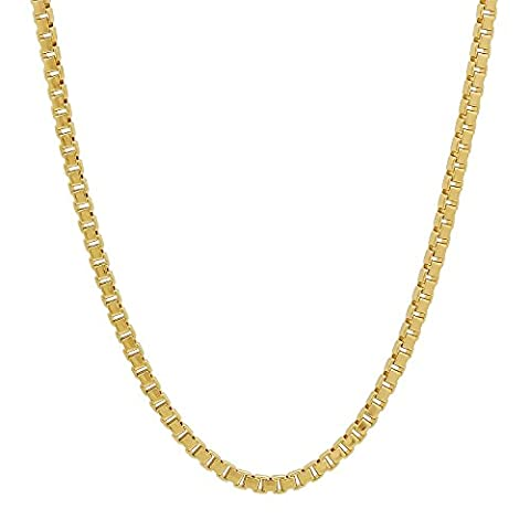 2mm 14k Gold Plated Box Chain Necklace, 76 cm