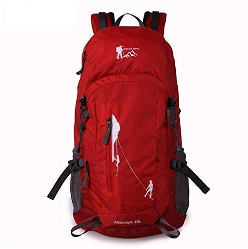 Grande capacità di alpinismo esterno borsa borsa zaino da viaggio per il tempo libero ( Colore : Blu , dimensioni : 45L ) Rosso
