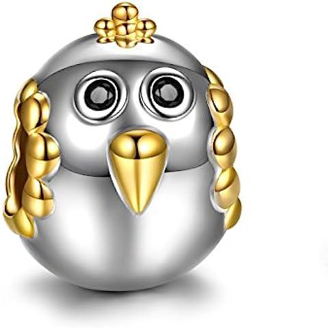 ninaqueen * Happy Chick * chapado en oro de ley 925circonitas Charms Pulsera de Pandora, Lucky Animal Charms