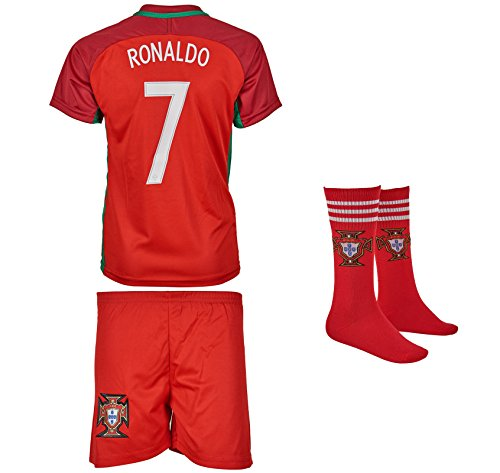 Portugal Ronaldo #7 Heim Trikot und Shorts mit Socken Kinder und Jugend Größe