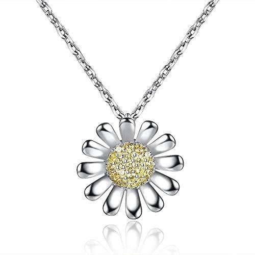 IFMASNN S925 Sterling Silber süße kleine Gänseblümchen Halskette kleine frische vielseitige Silberschmuck Schlüsselbein Kette weiblich