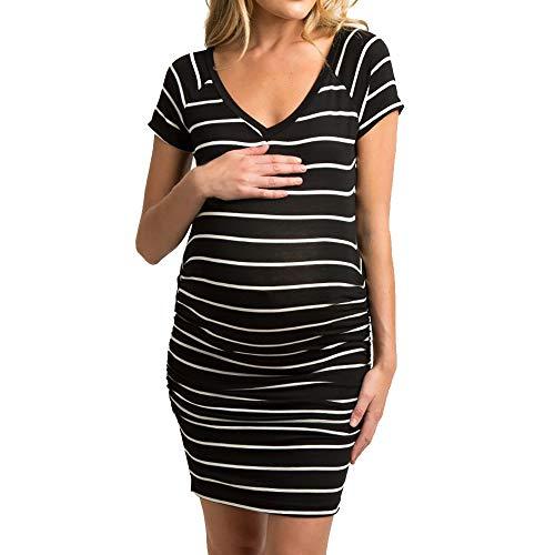 MEIbax Damen Streifen Mutterschaft schwanger Kurzarm Pflege Boho Minikleid Umstandskleid Mutterschaftskleid Nachthemd Schwangerschaft (Pflege-langarm-nachthemd)