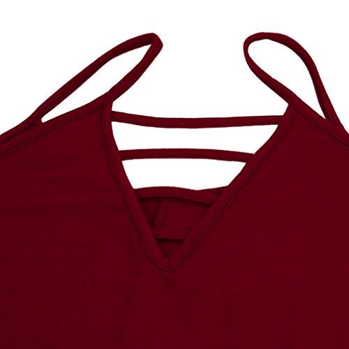 Manadlian - T-shirts Femmes Grande Taille Gilet Solide Halter Creuse Personnalité Quotidienne Gilet Vin rouge