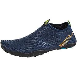 TUUHAW Zapatos de Agua para Hombre Mujer Snorkel Acuáticos Escarpines Playa Buceo Surf Piscina Vela Mar Río Aqua Deportes Calzado de Natación-931-AZUL-37