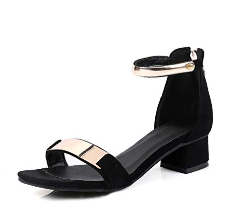 NobS Femmes Métal Suede Sandales Chunky Talon Grande Taille 40-43 Chaussures Taille Chaussures Casual Black