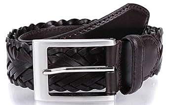 Dents Mens Plaited Strap Leather Belt - Brown - Large